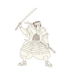 Samurai warrior katana fight stance woodblock vector