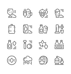 set line icons of beer vector image