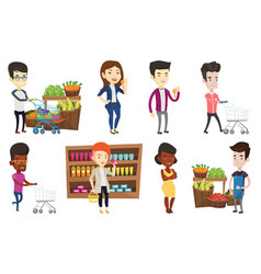Set of shopping people characters vector
