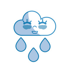 Silhouette kawaii nice happy cloud raining vector