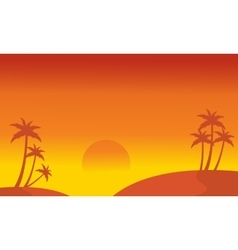 Silhouette of hill and palm scenery vector