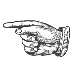 Sketch of a Hand Pointing to the Left vector image