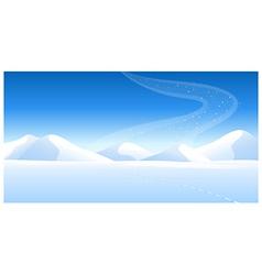 Snowcapped landscape aurora vector
