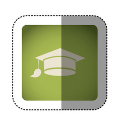 sticker color square with graduation cap vector image vector image