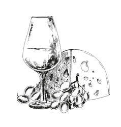 Wine glass with cheese and grapes vector