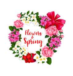 Wreath of spring flowers and bouquets vector