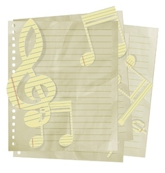 Paper treble clef and music notes on sheet in line vector