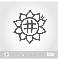 Sunflower outline icon harvest thanksgiving vector