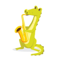 Musical animals crocodile saxaphone vector