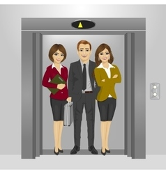Business people standing inside office elevator vector