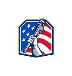 Plumber hand pipe wrench usa flag retro vector