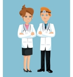 Doctor woman and man hospital workers vector