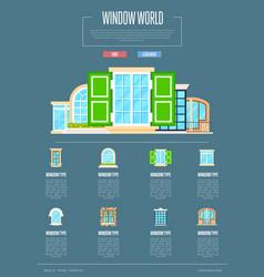 Window world concept in flat design vector
