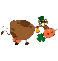 St patricks day cow wearing a hat vector