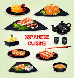 Japanese cuisine dinner with dessert cartoon icon vector