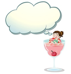 A happy little girl above the wine glass vector