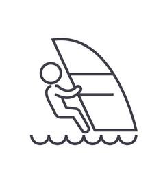 windsurfing flat line  concept vector image