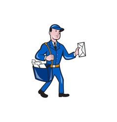 Mailman postman delivery worker isolated cartoon vector