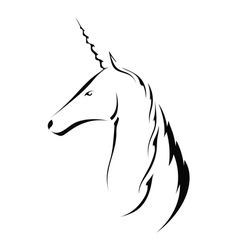 Silhouette head with a unicorn vector