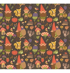 Seamless pattern with funny gnomes vector image