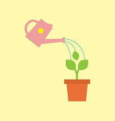 Watering pot with little tree vector