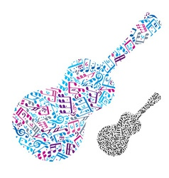 Bright acoustic guitar filled with musical notes vector