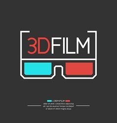 3D filme logo with glasses vector image vector image