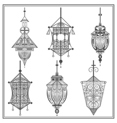 Set of ethnic ornamental lights in black and white vector