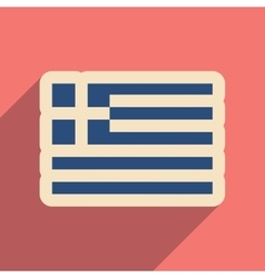 Flat web icon with long shadow flag of greece vector
