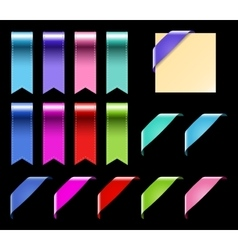 Web Ribbons Set With Gradient isolated on black vector image