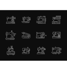 Tailoring machinery white flat line icons vector
