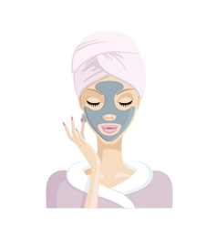 Girl does the mask of clay on the face illu vector