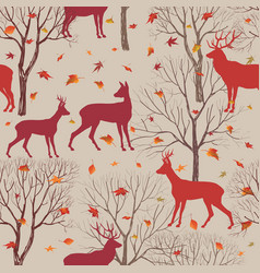 Autumn forest tile pattern animal deer fall vector