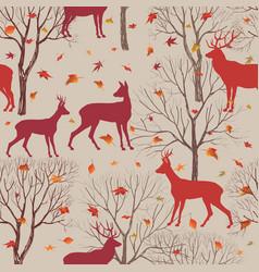 Autumn forest tile pattern animal deer fall vector
