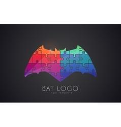 Bat logo color bat creative logo design puzzle vector