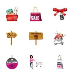 Big sale icons set cartoon style vector