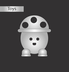 Black and white style toy mushroom vector