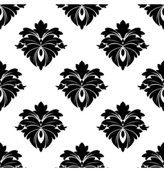 Black floral seamless pattern vector image