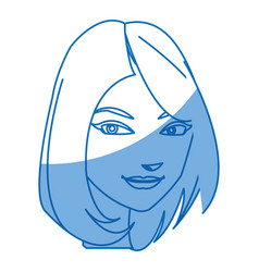 cartoon character woman face design vector image