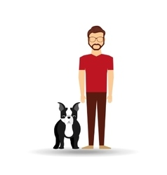 Character man bearded pet french bulldog graphic vector