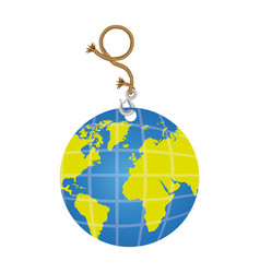 Color planet earth hanging rope icon vector