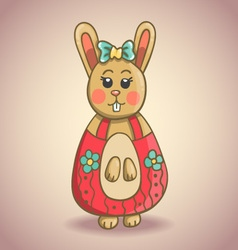 Cute cartoon bunny 1 vector image vector image