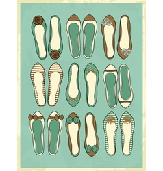 cute retro style ballerinas shoes vector image vector image