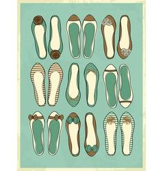 Cute retro style ballerinas shoes vector