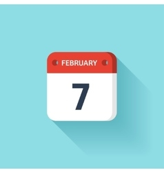 February 7 isometric calendar icon with shadow vector