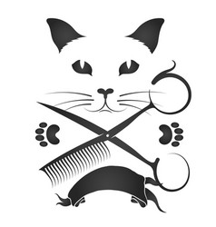 Hairdresser for cats and other animals vector