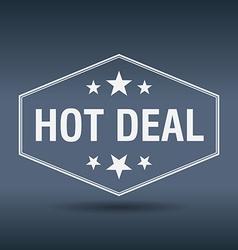 Hot deal hexagonal white vintage retro style label vector