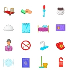 Hotel icons set in cartoon style vector image