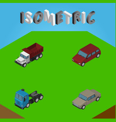 Isometric car set of freight auto truck and vector