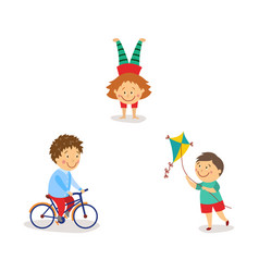 kids flying kite riding bicycle doing handstand vector image